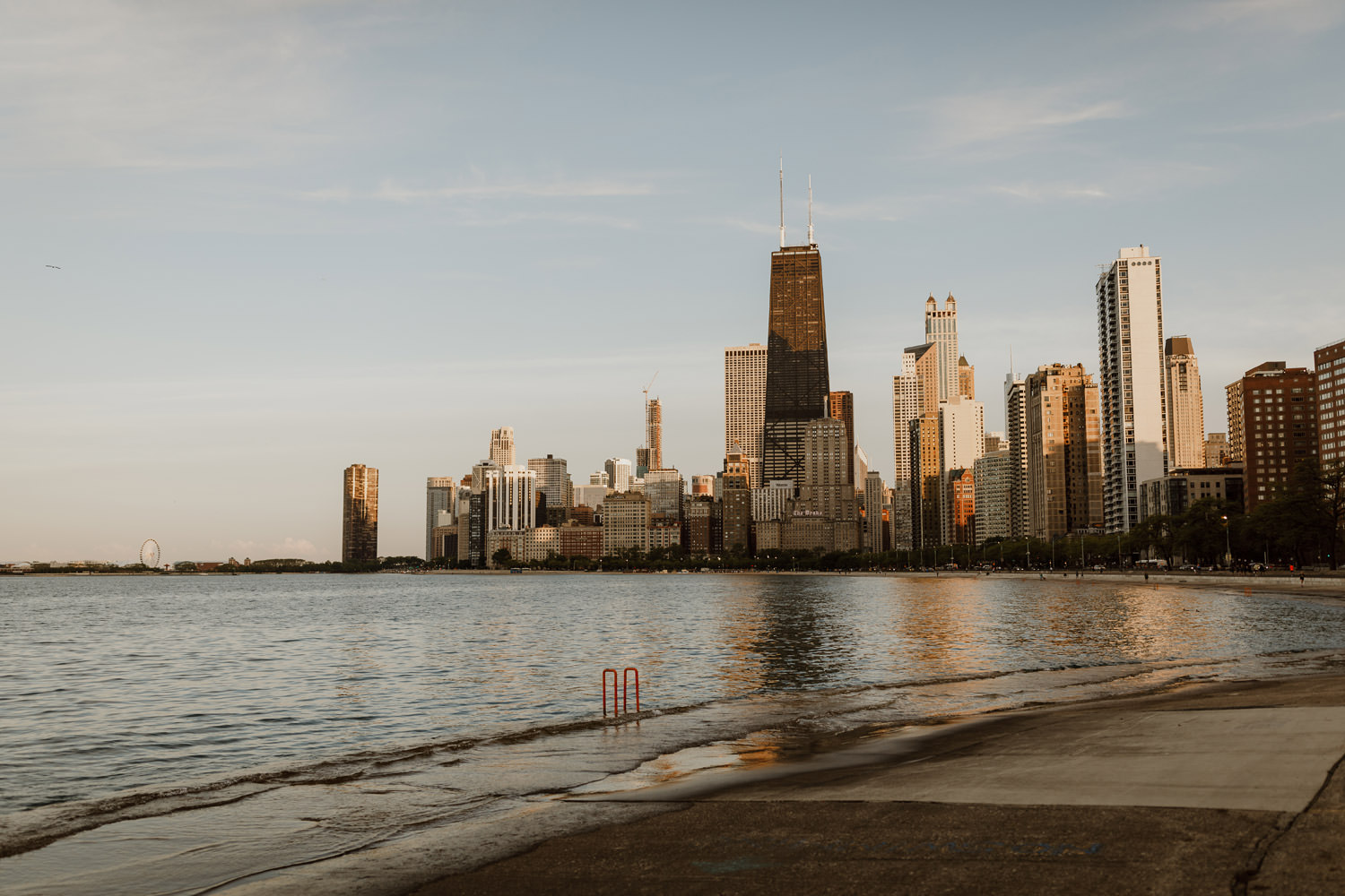 Downtown view from North Ave Beach in Chicago photographed during sunset.