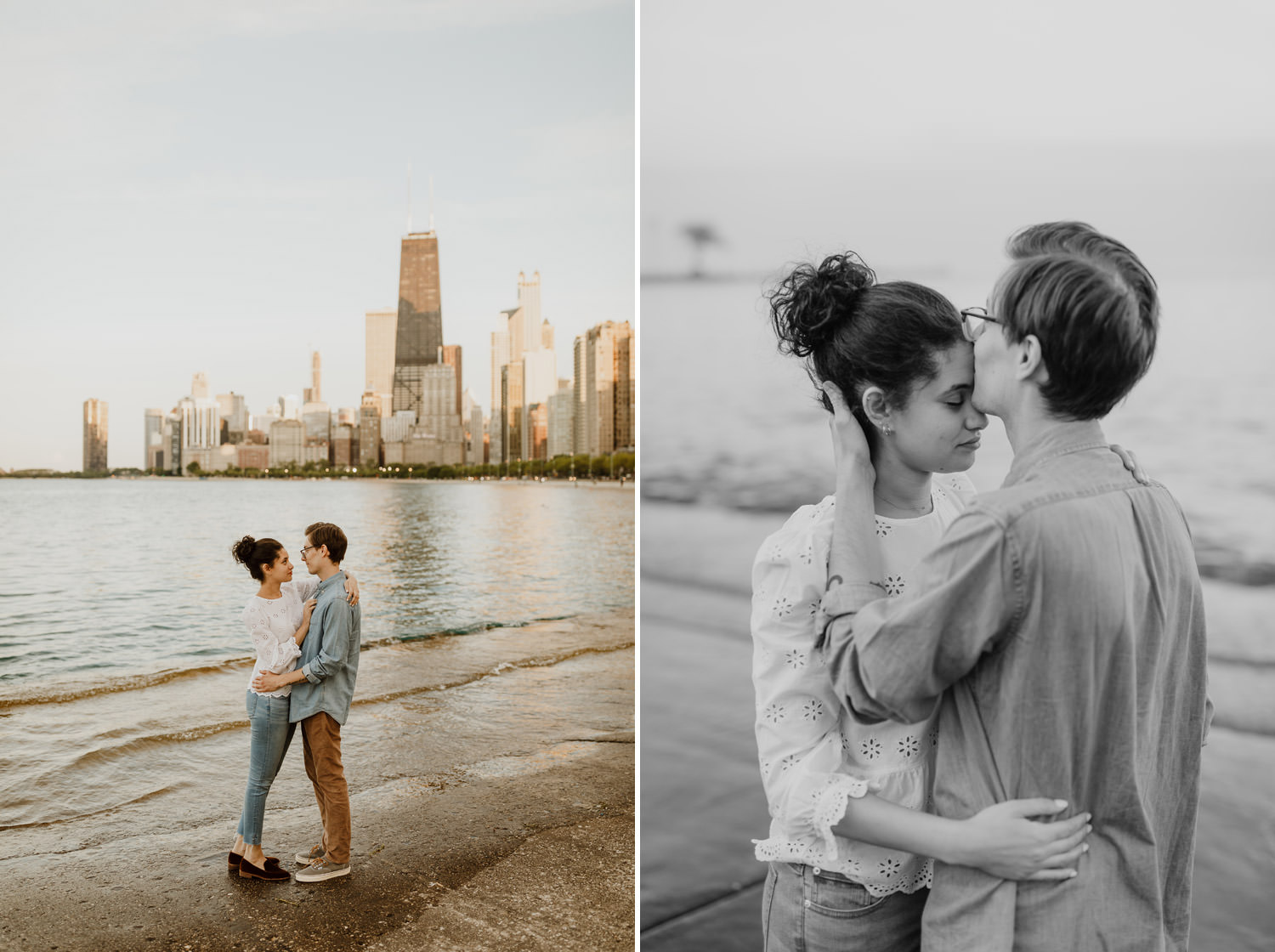 Engagement session pictures at North Ave Beach in Chicago taken during sunset