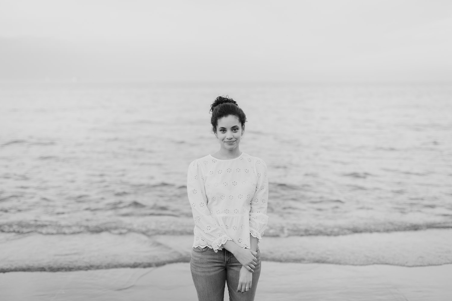Black and White portrait of the bride to be taken at North Ave beach