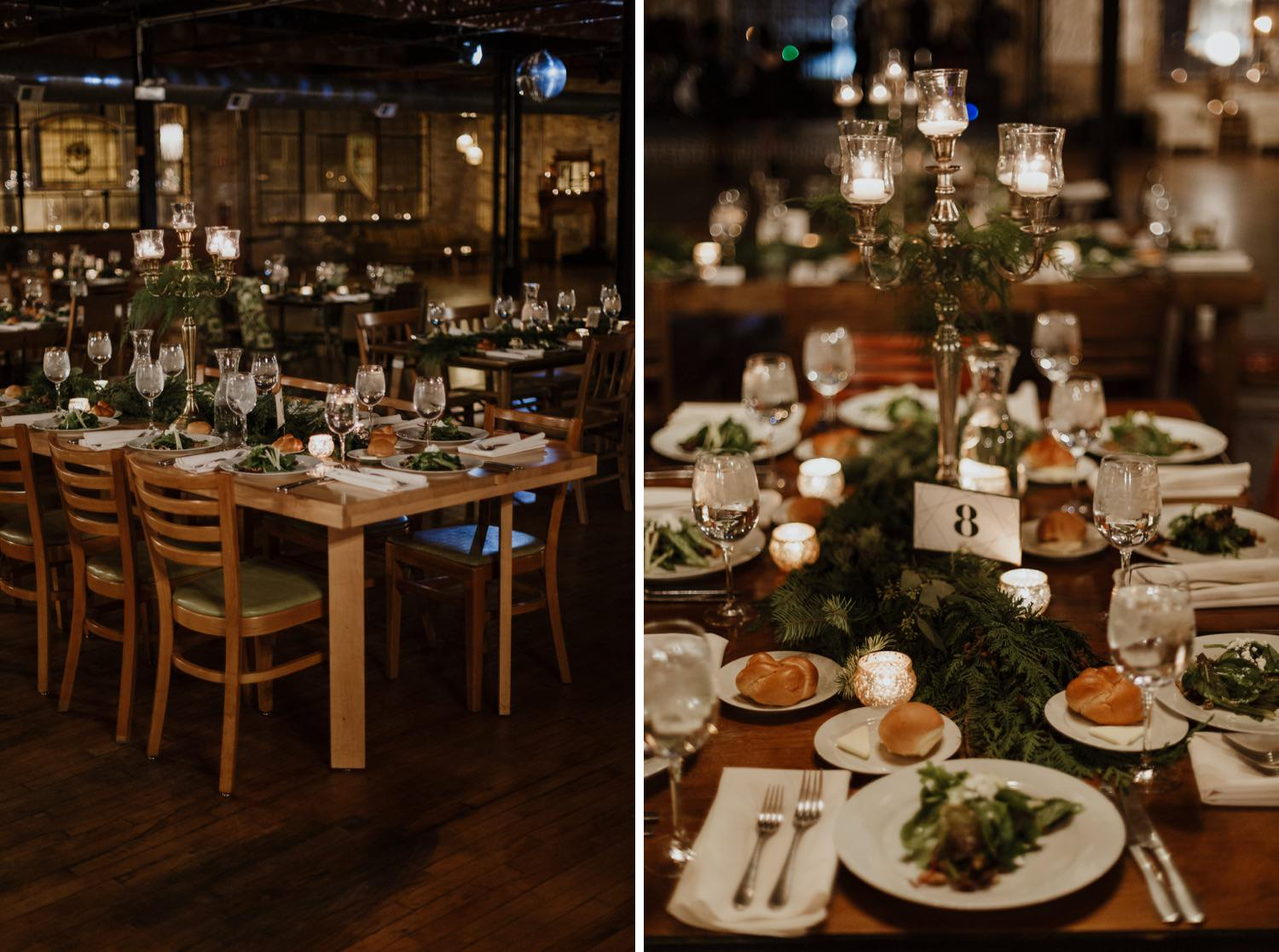 Pictures of table decorations with a winter wedding theme at the salvage one