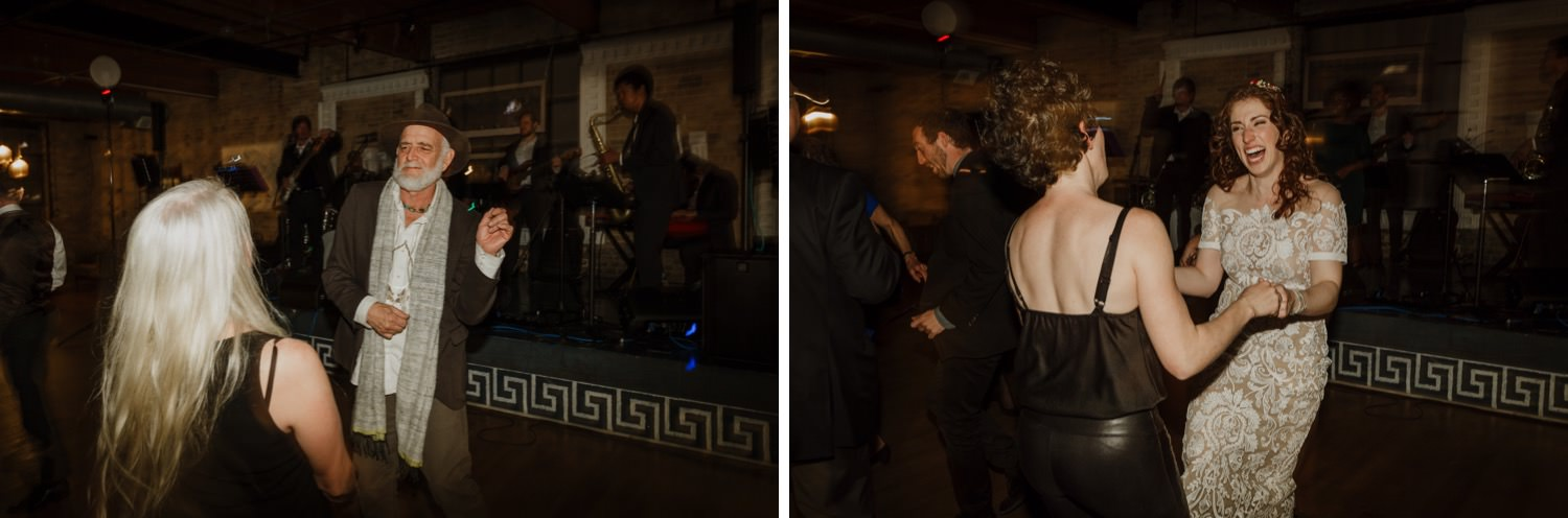 guests dancing during the wedding at Salvage One in Chicago