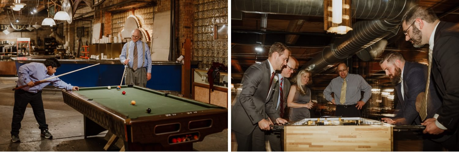 guest play games during the wedding reception at Salvage One
