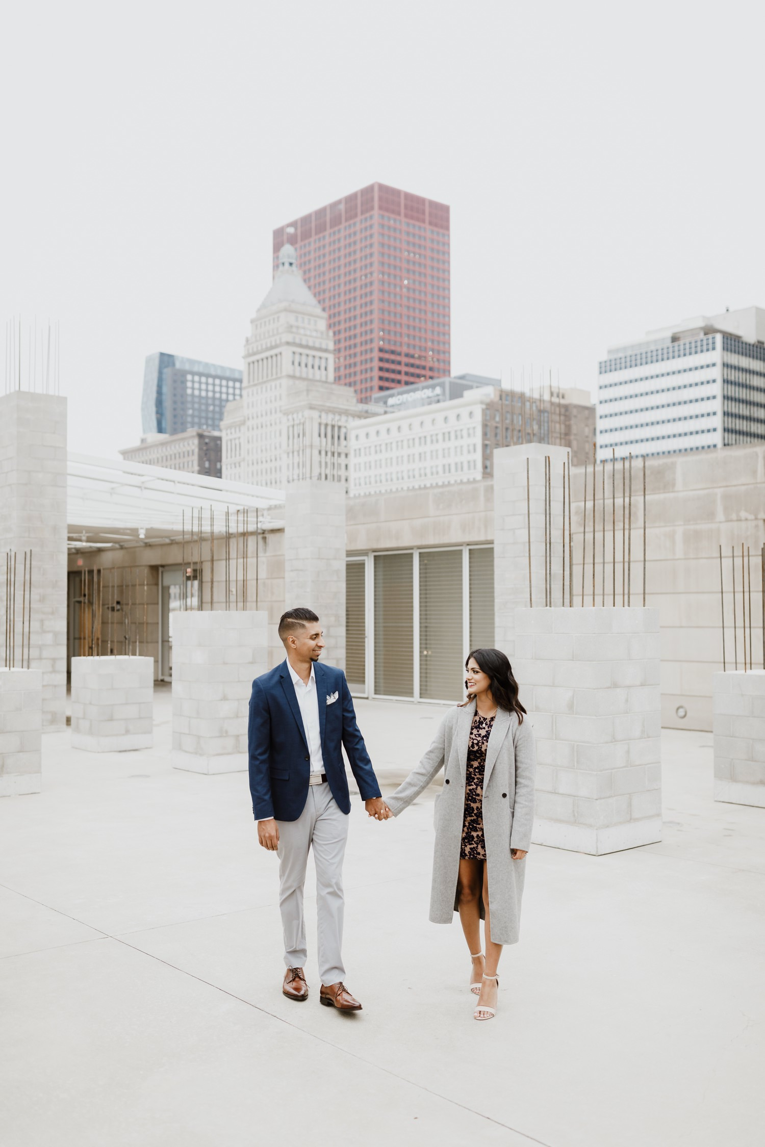 Bride and groom walk together at Art Institute in Chicago