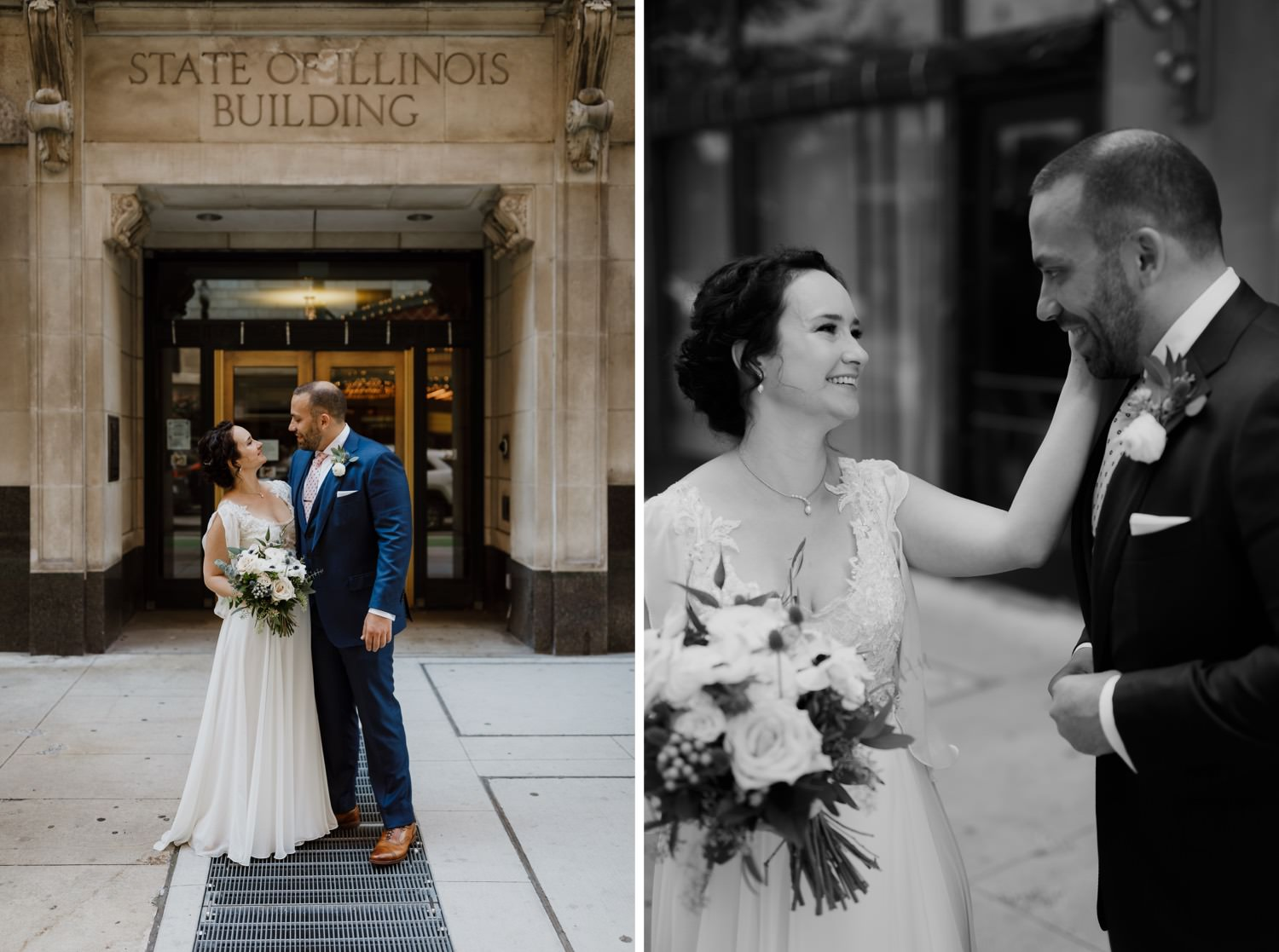 Intimate moment between bride and groom during the wedding in downtown Chicago