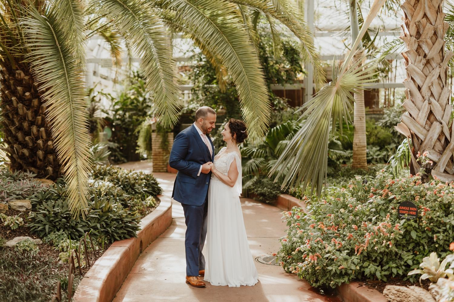 Picture Bride and groom at Garfield Park Conservatory on the wedding day