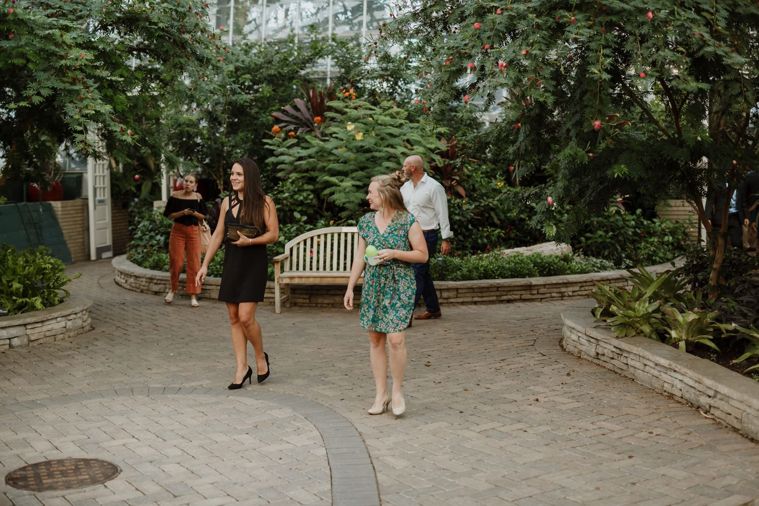 guests entering the wedding ceremony at Garfield Park Conservatory