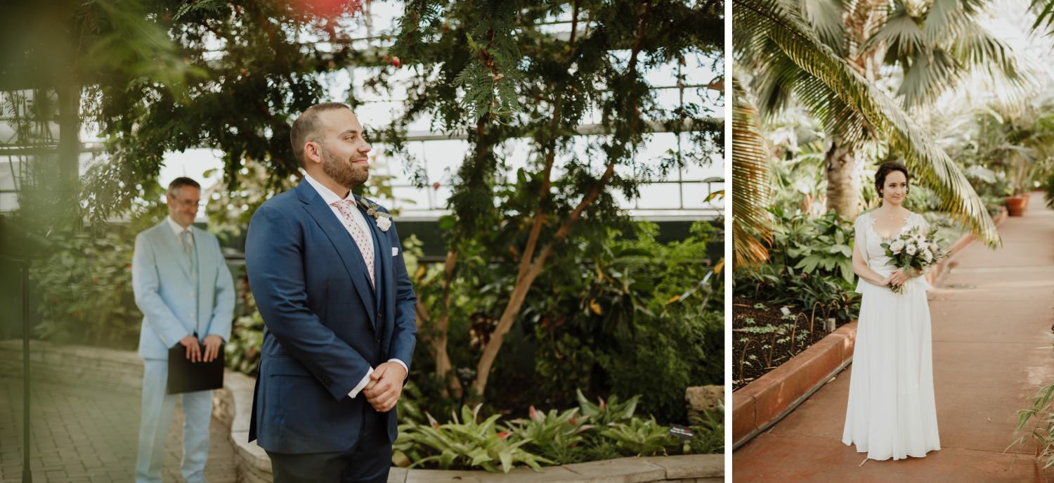 Picture of the groom waiting at the altar for the bride at Garfield Park Conservatory