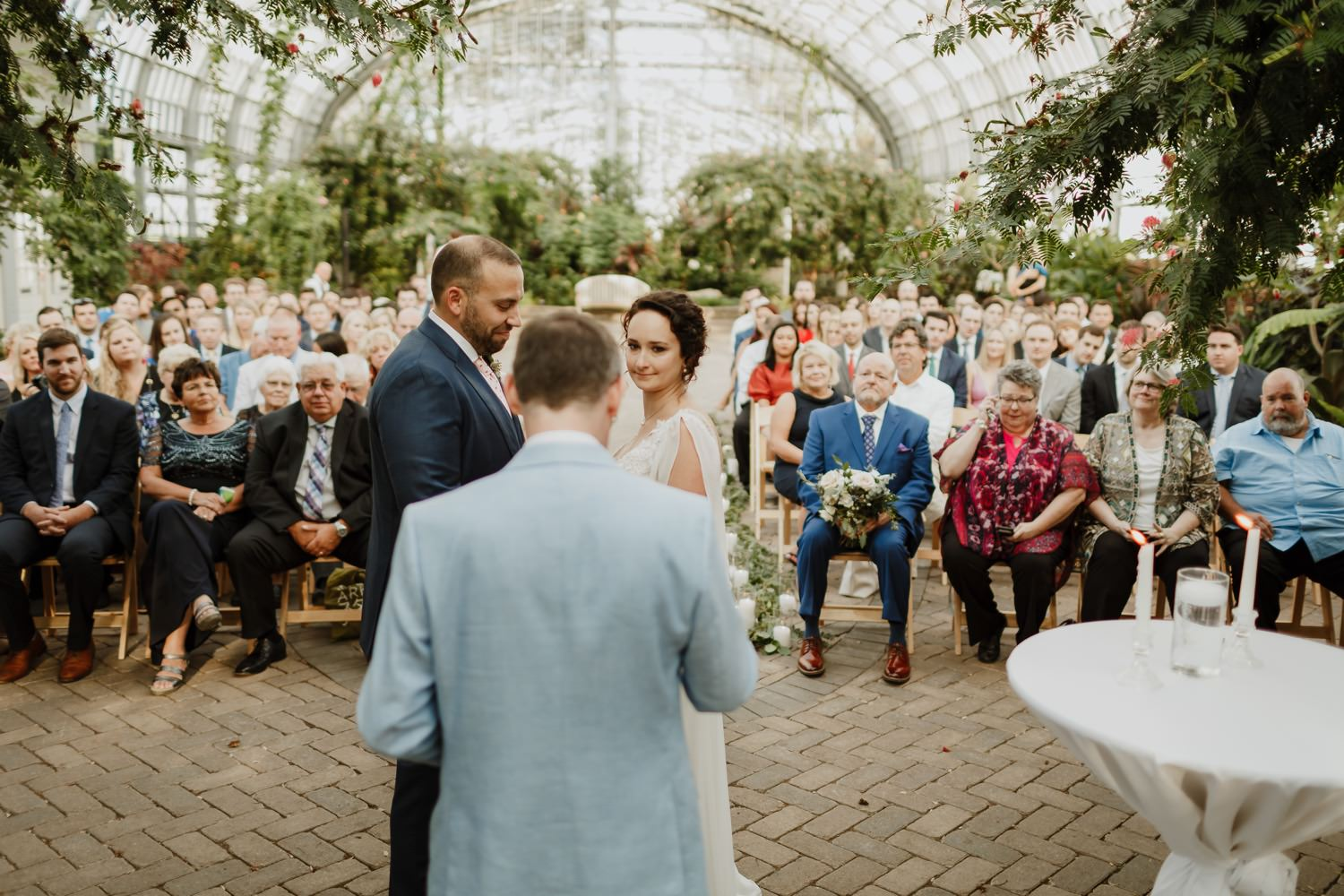 Wedding ceremony picture at Garfield Park Conservatory.