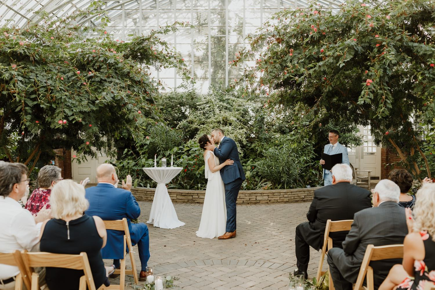 First kiss at the wedding at Garfield Park Conservatory wedding