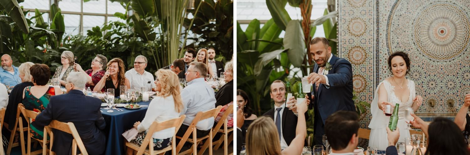 Groom welcomes guest at Garfield Park Conservatory wedding