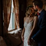 Bride and groom kiss during the portrait shoot inside the glessner house on the wedding day