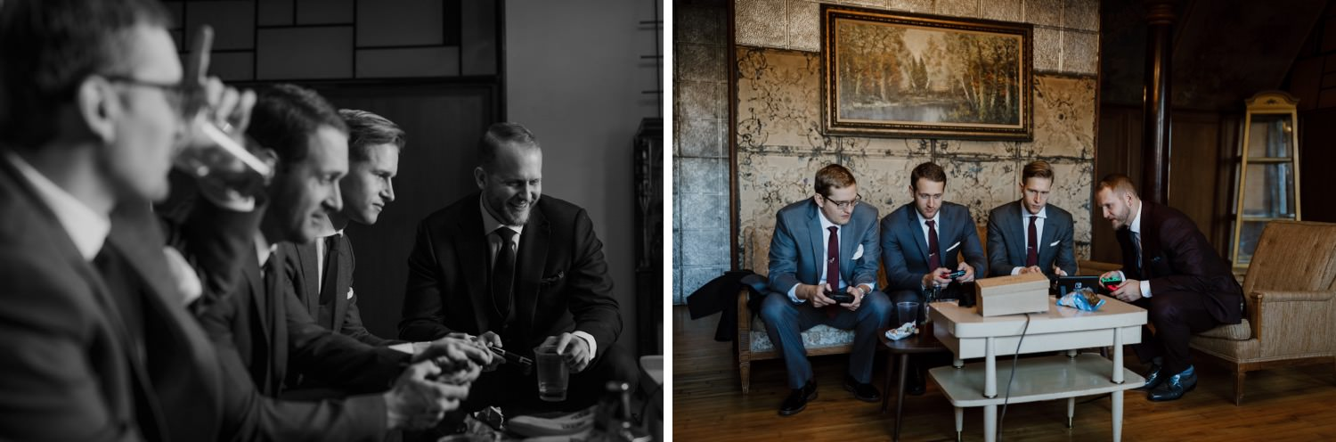 Groom and groomsmen play video games inside salvage one before the wedding ceremony