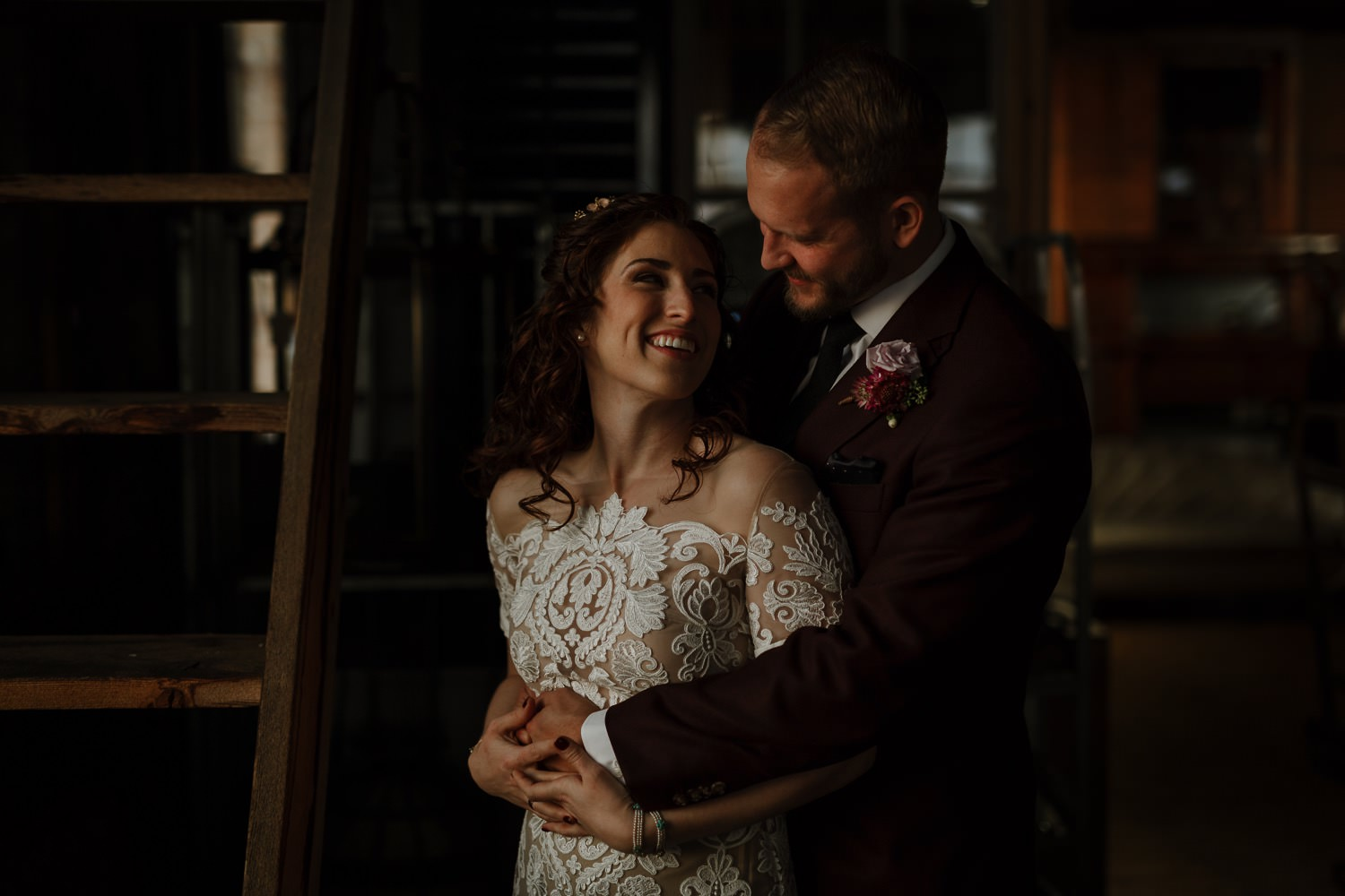 Bride and groom portrait in salvage one