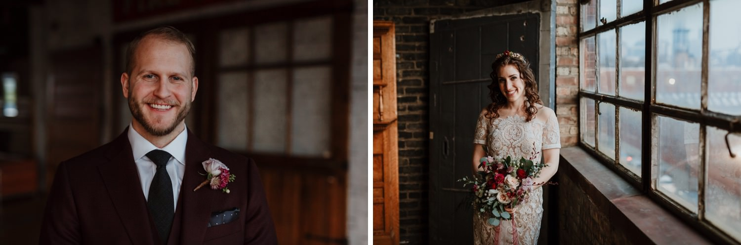 Portrait of the bride and groom taken upstair at Salvage One