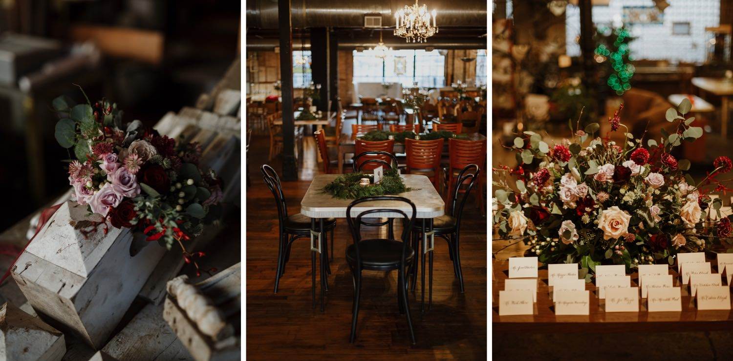 Wedding table decors at salvage one Chicago