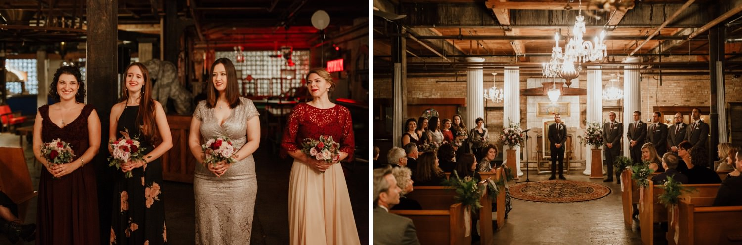 picture of the bridal party during the ceremony at Salvage One