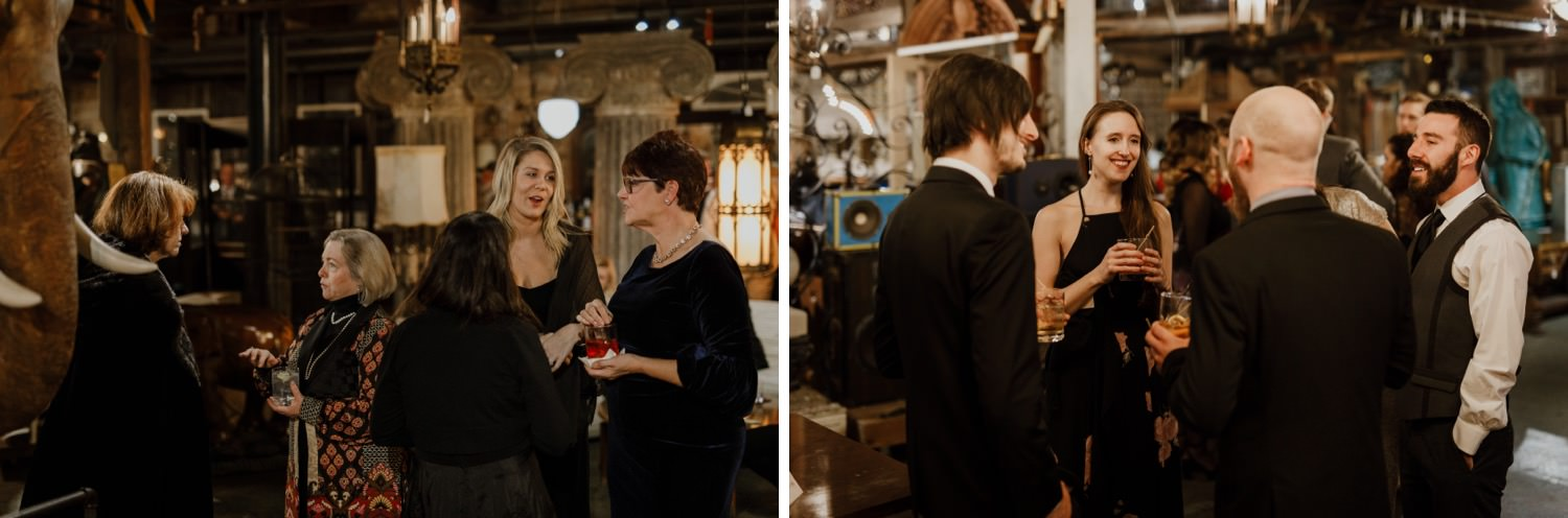 Picture of the wedding guest socializing at salvage one during the wedding day