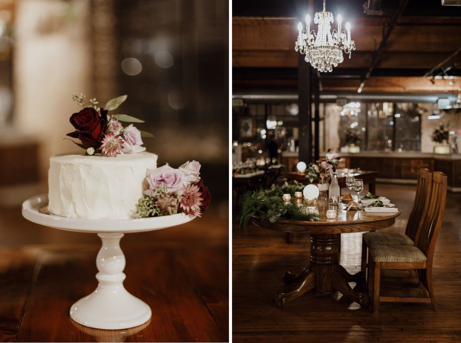 Photos of Cage and table decorations at the wedding in Salvage One