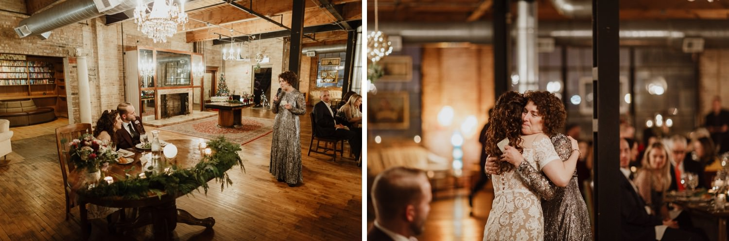 Mother of the bride gives a speech during the wedding at Salvage One