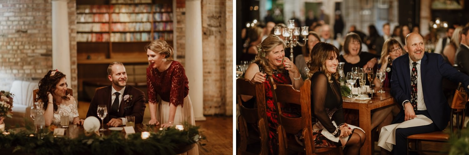 Photos of wedding speeches at Salvage one