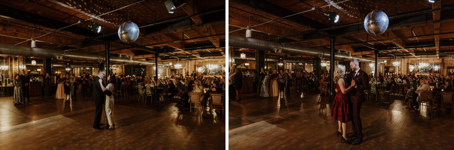 Photos of first dance at the wedding at Salvage One