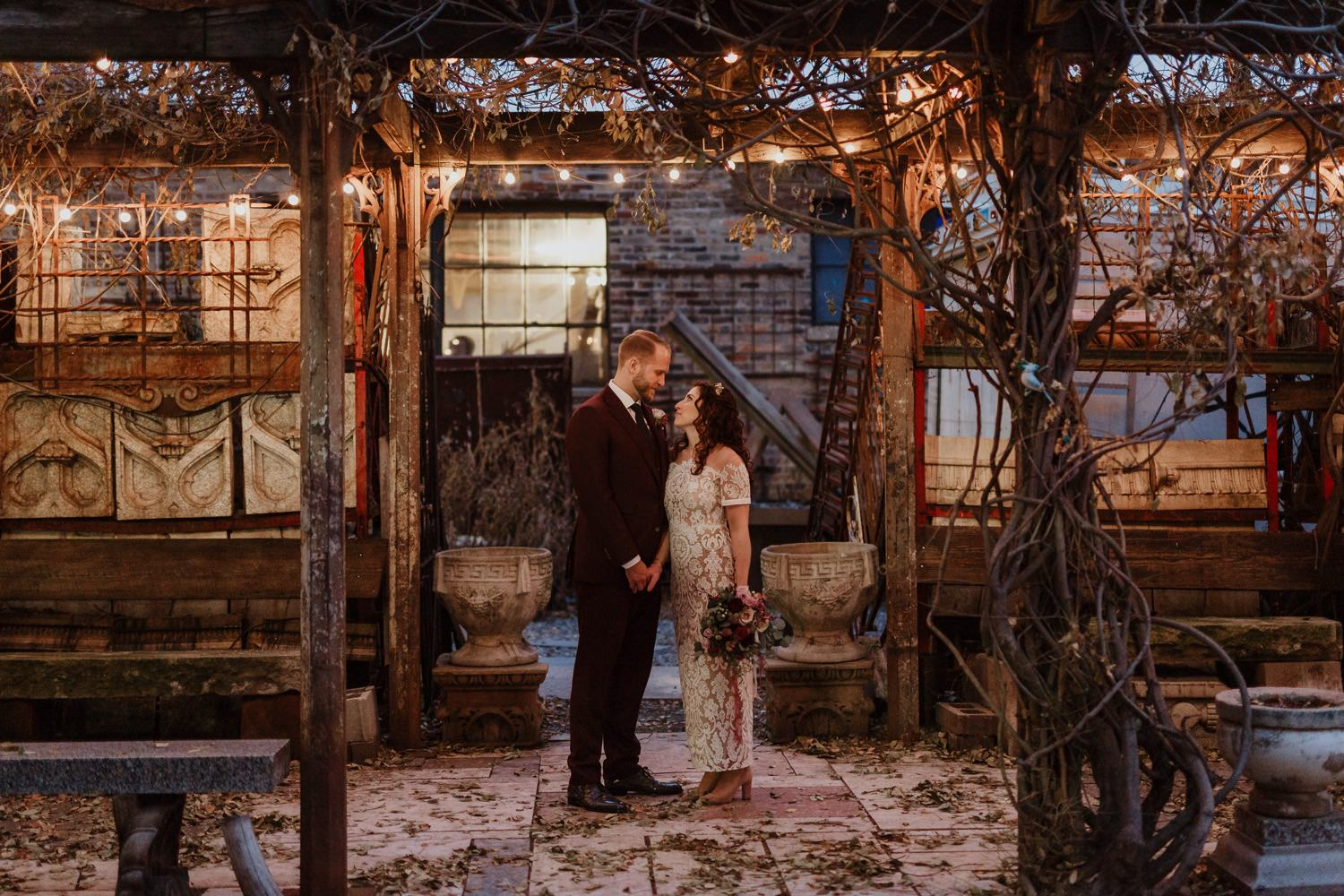 Bride and groom portrait in the garden of Salvage One during winter