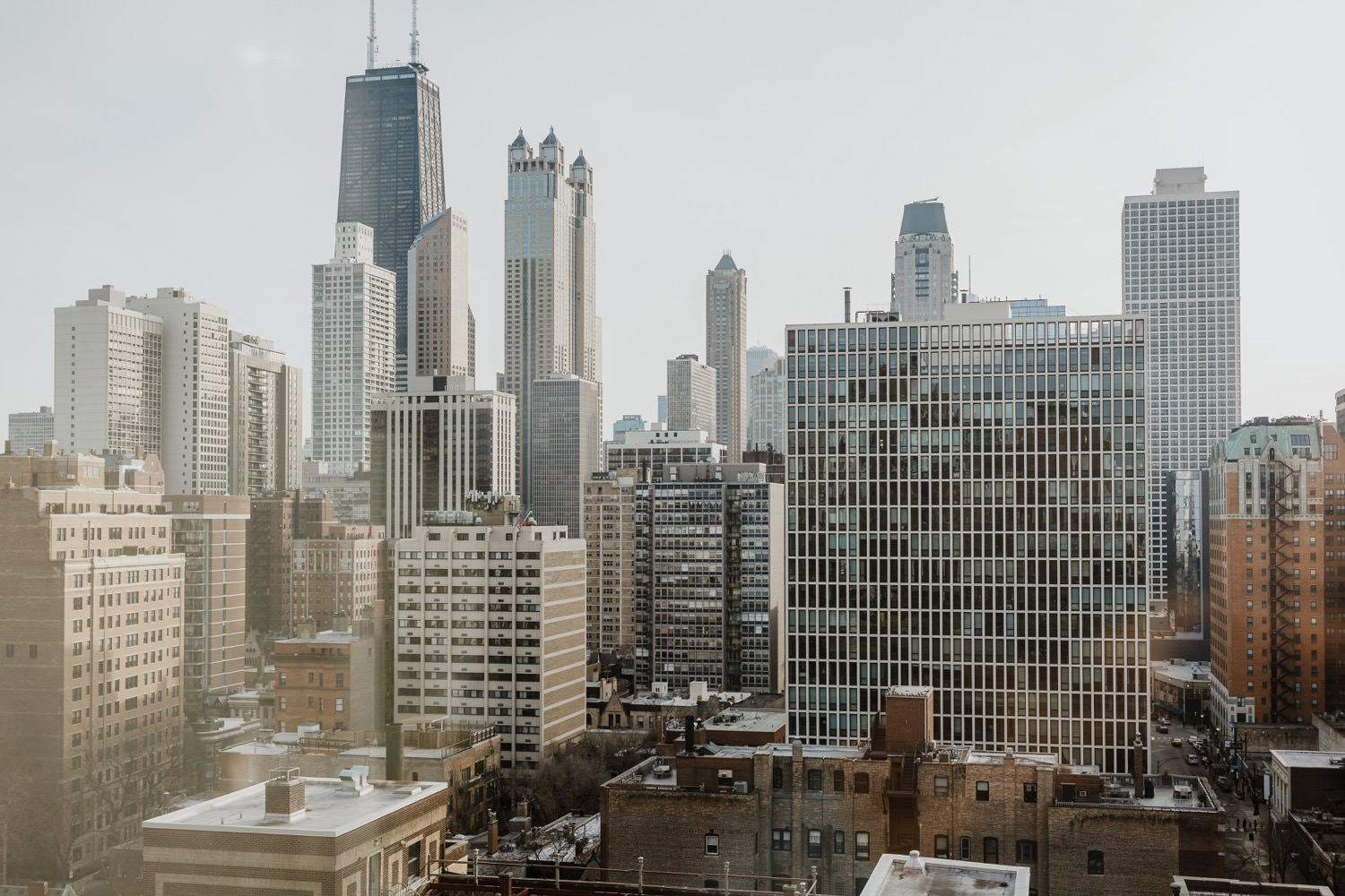 view of downtown chicago from the balcony at ambassador hotel