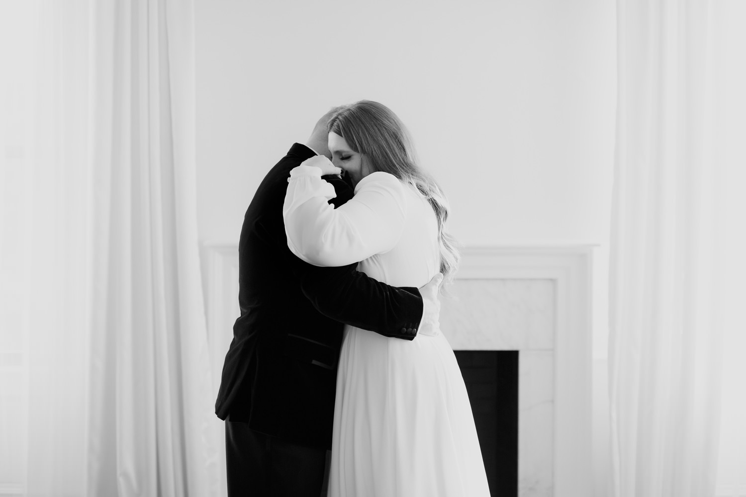 bride and groom hug after their elopement ceremony in Chicago