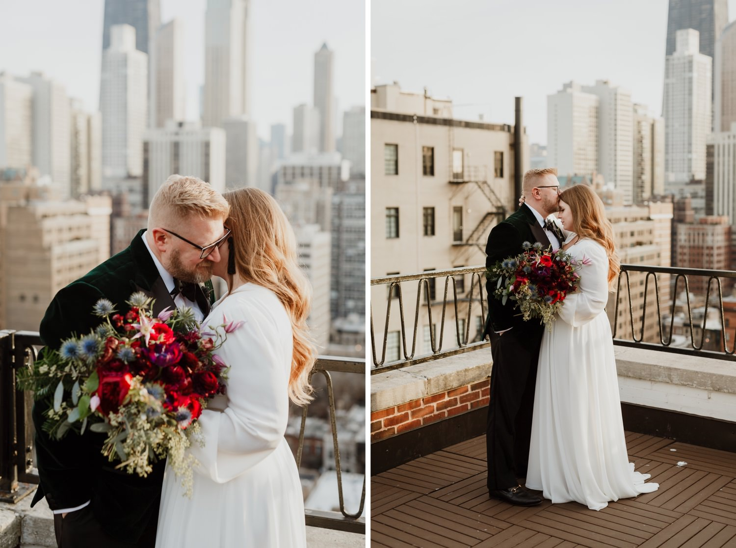 Bride and groom photographed during the elopement in Chicago downtown