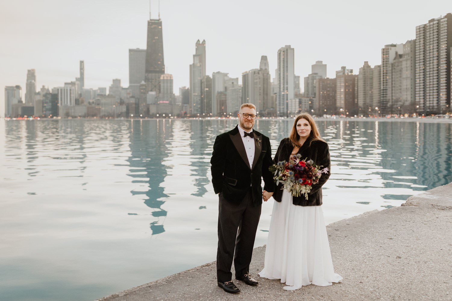 bride and groom photographed at Chicago's downtown lakefront during their elopement