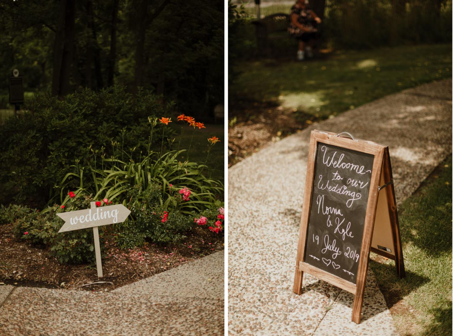 signs for the guest at redfield estate wedding