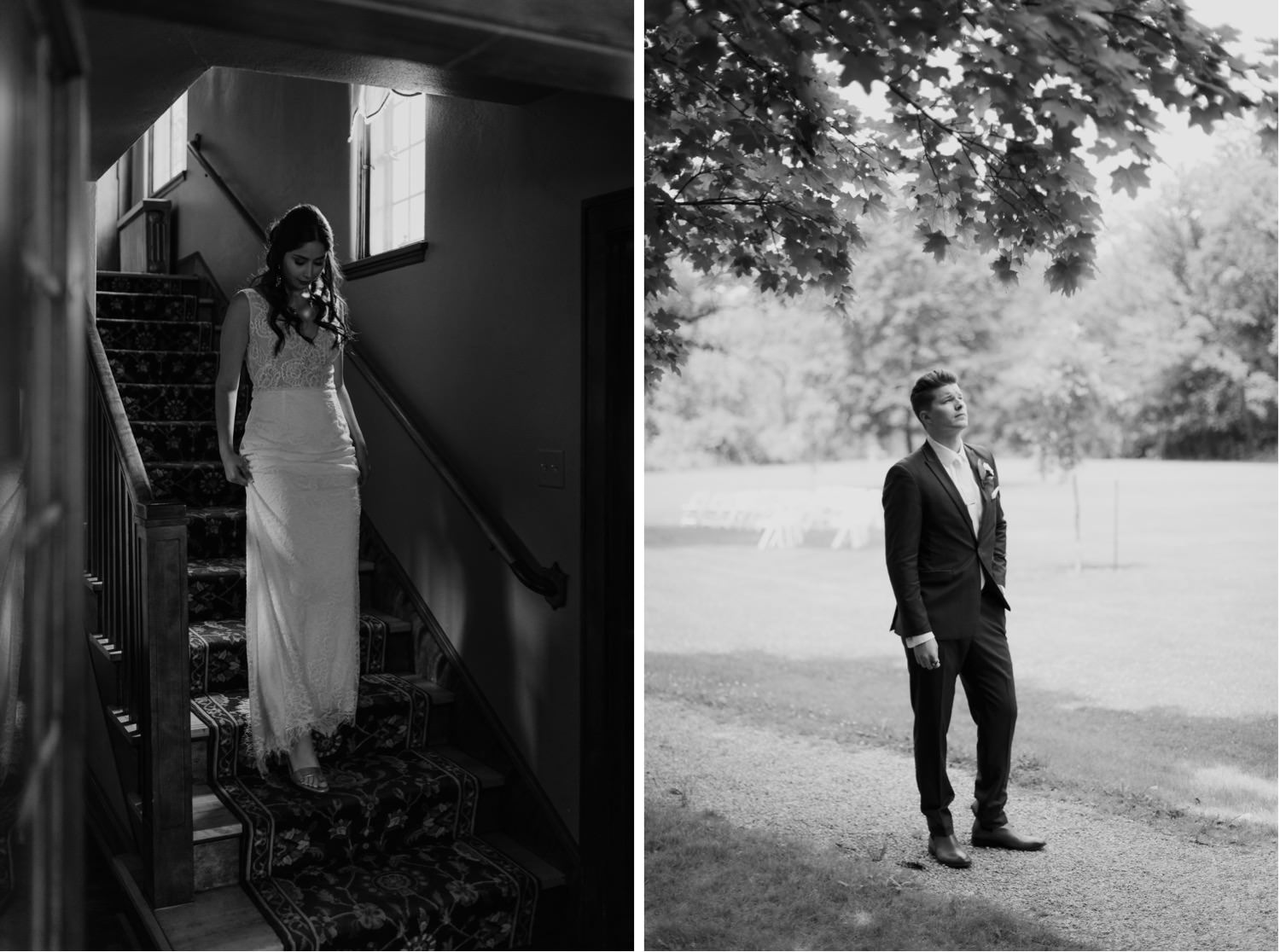 Bride walks down the stairs to meet her groom for the first time at Redfield estate