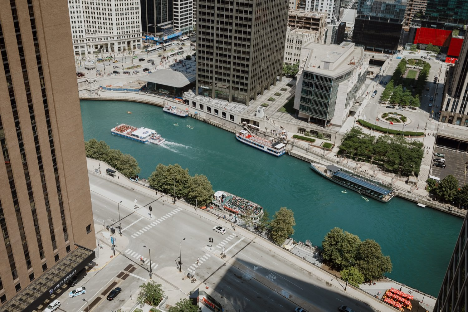 View over Chicago river in downtown. Taken during the wedding day.