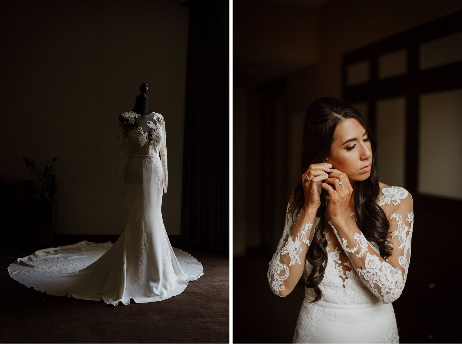 The Bride getting ready on the wedding day in Palmer House in Chicago