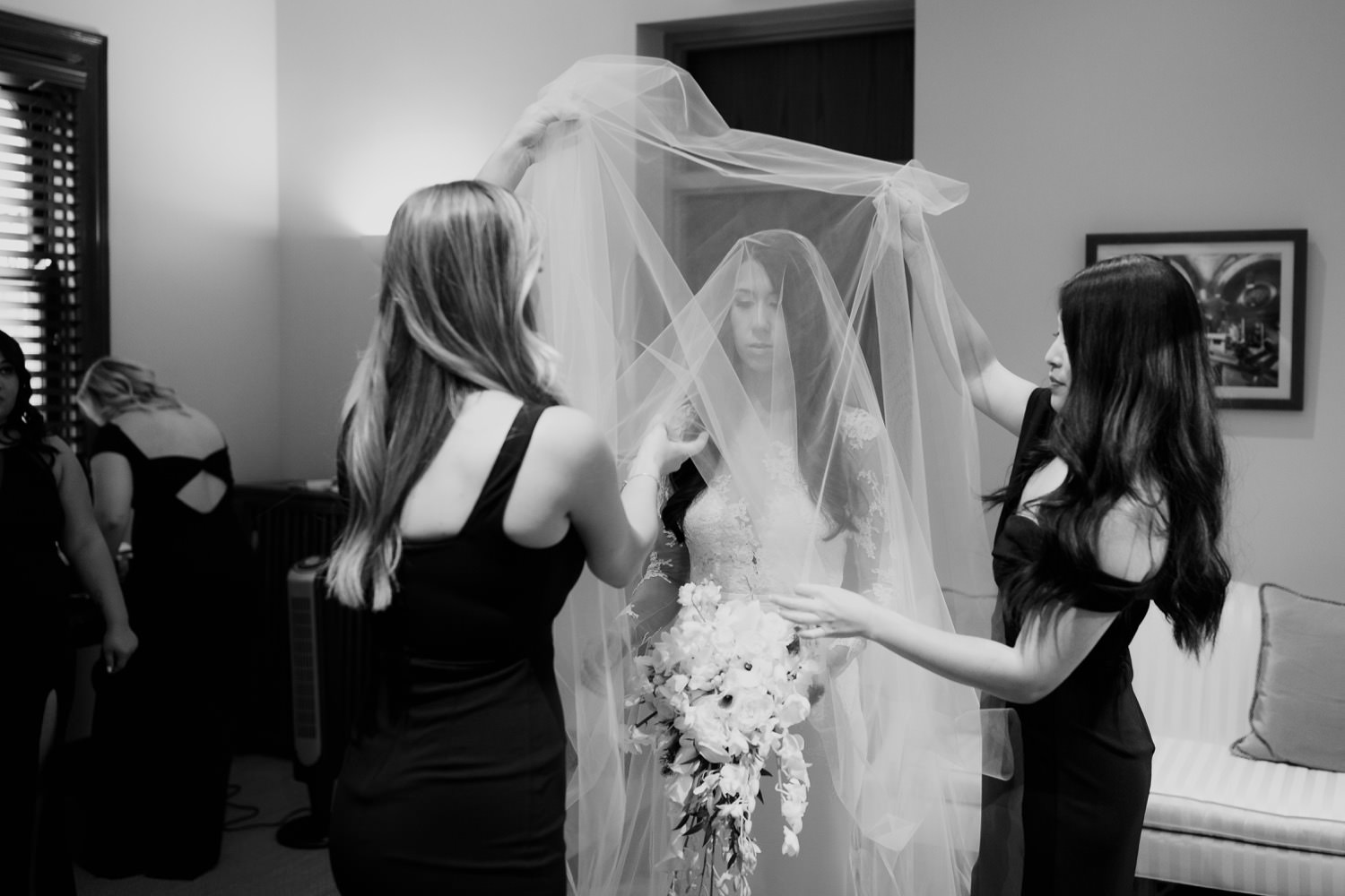 The bride getting ready to walk down the isle in St. Clement Church in Chicago