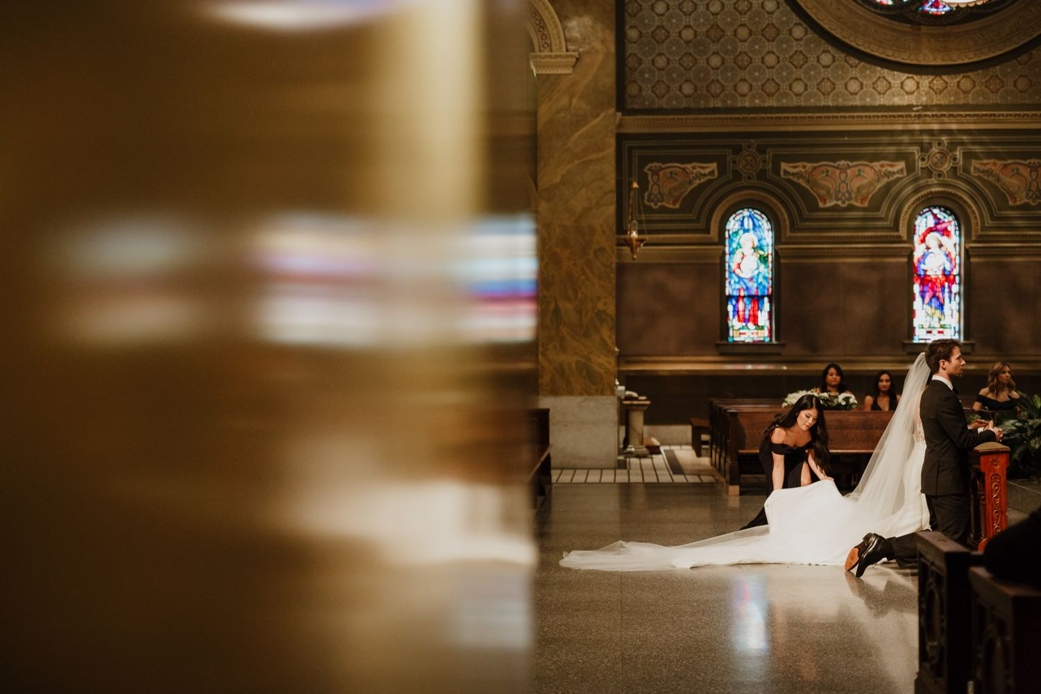 Wedding day ceremony at St. Clement Church in Chicago