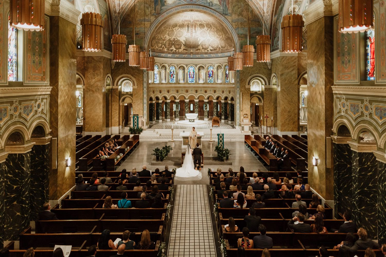 the wedding in St. Clement Church in Chicago