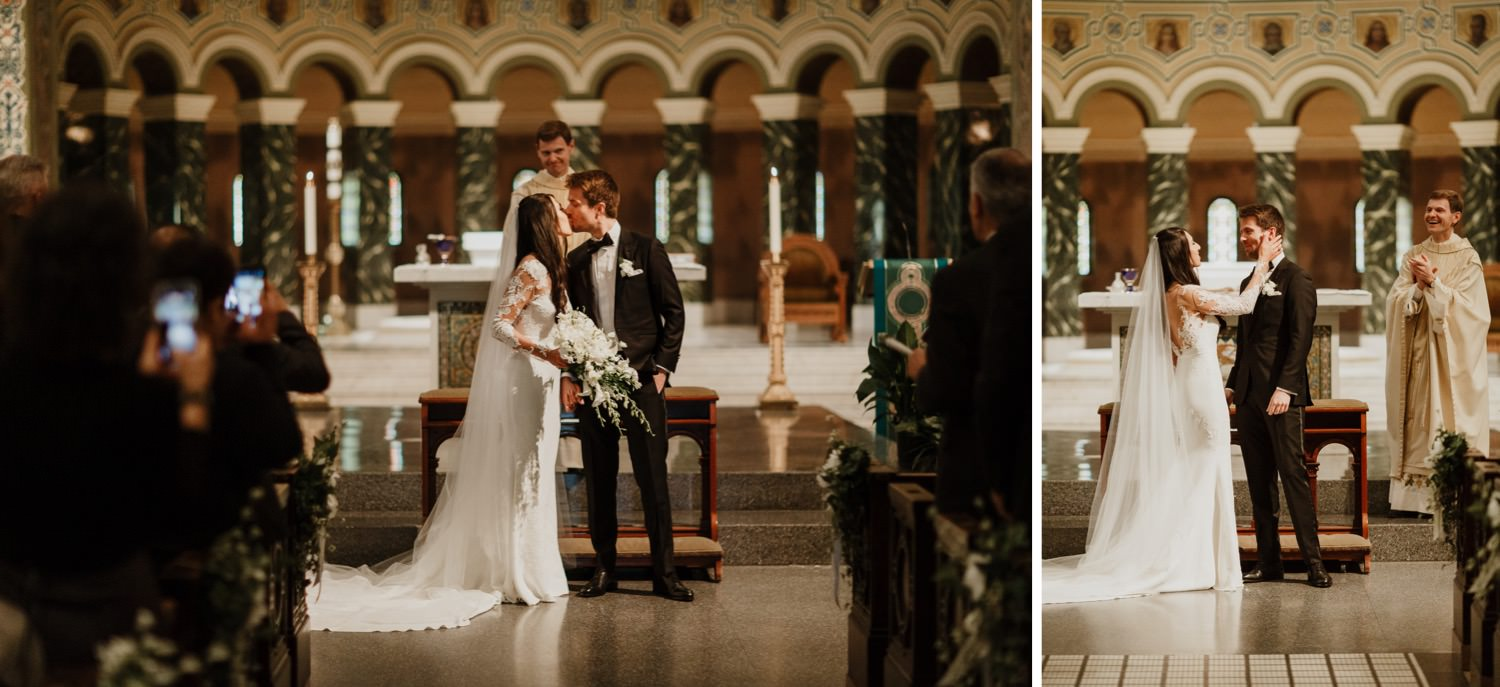 Bride and groom first kiss at St. Clement Church in Chicago
