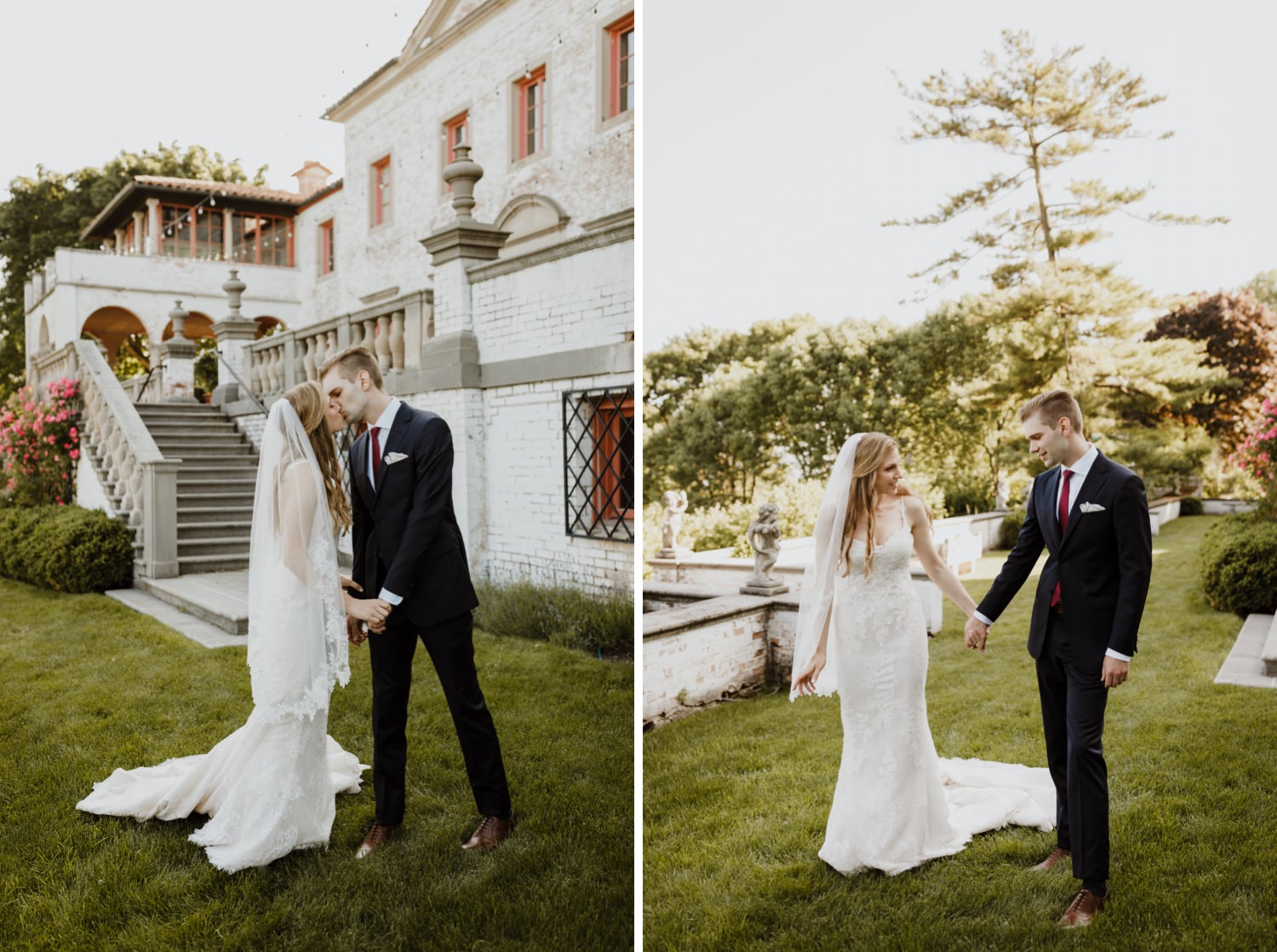 First look with bride and groom in Villa Terrace in Milwaukee