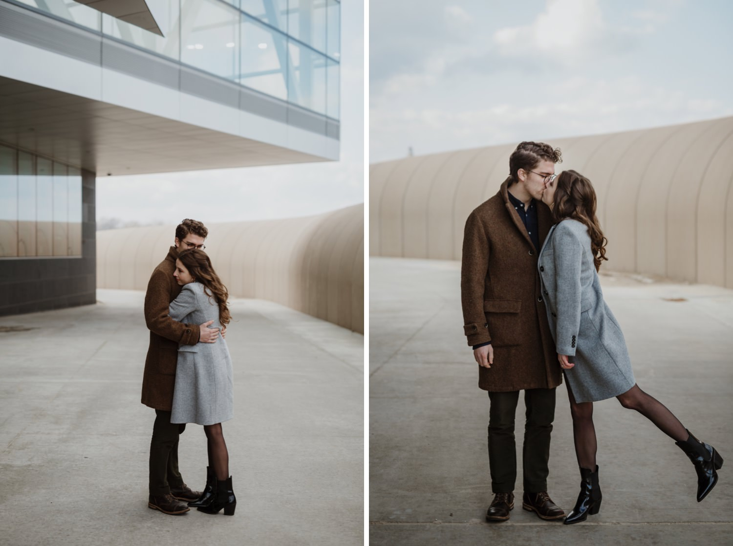 Couple hubs by Lake Michigan nears Northwester University in Evanston. Photograph taken during their engagement session the early spring