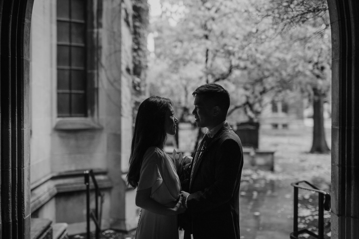 artistic portrait of the bride and groom at university of Chicago
