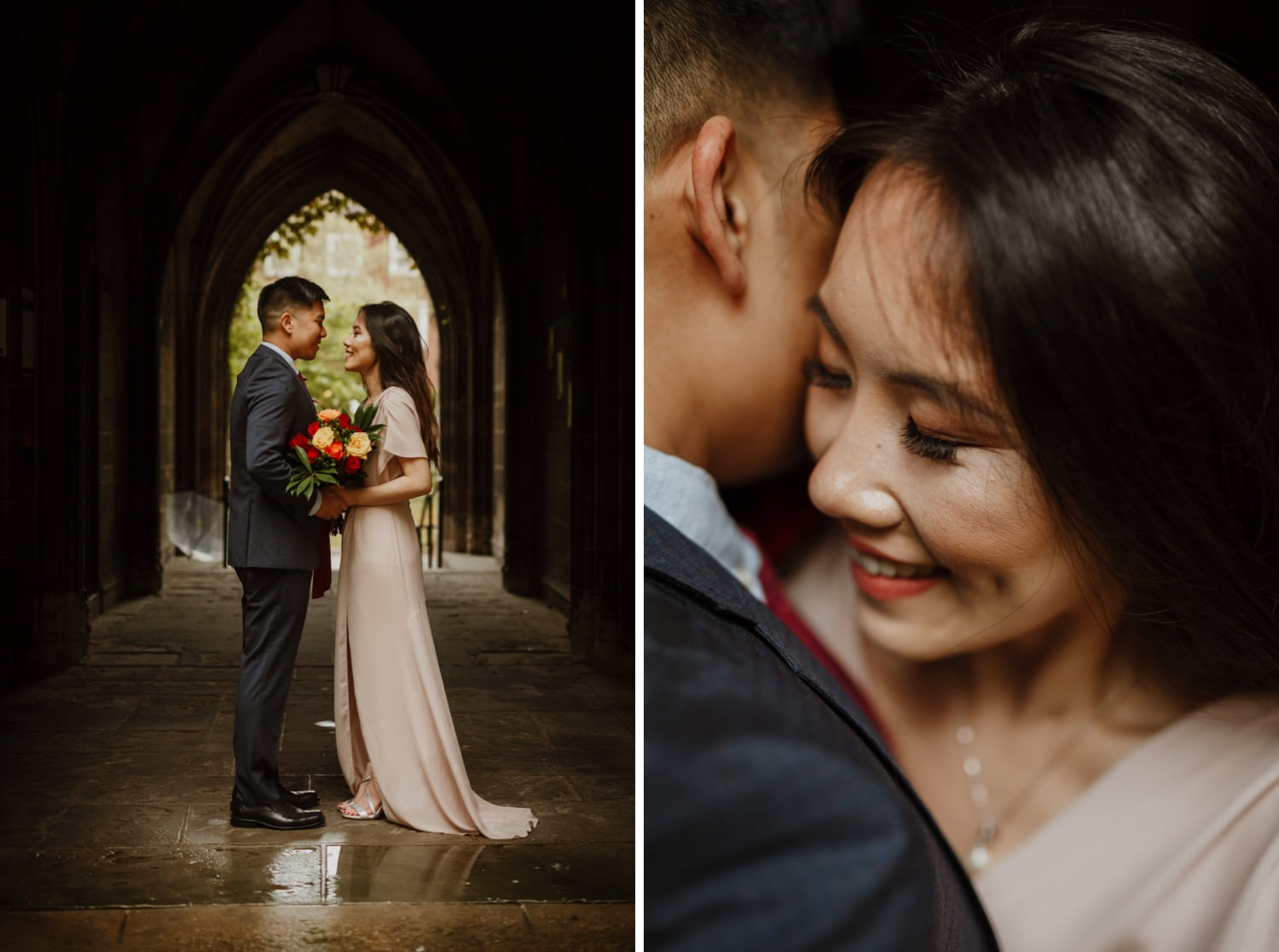 Intimate portrait of the bride and groom at university of Chicago