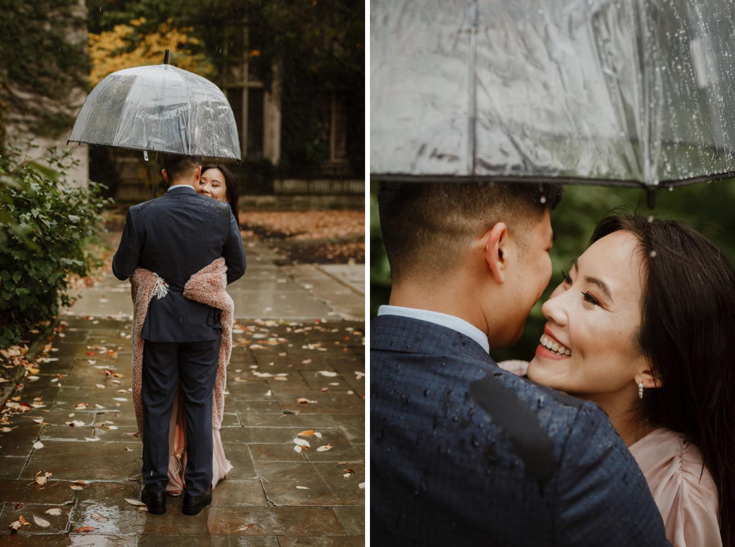 Bride and groom take rainy portraits after the ceremony