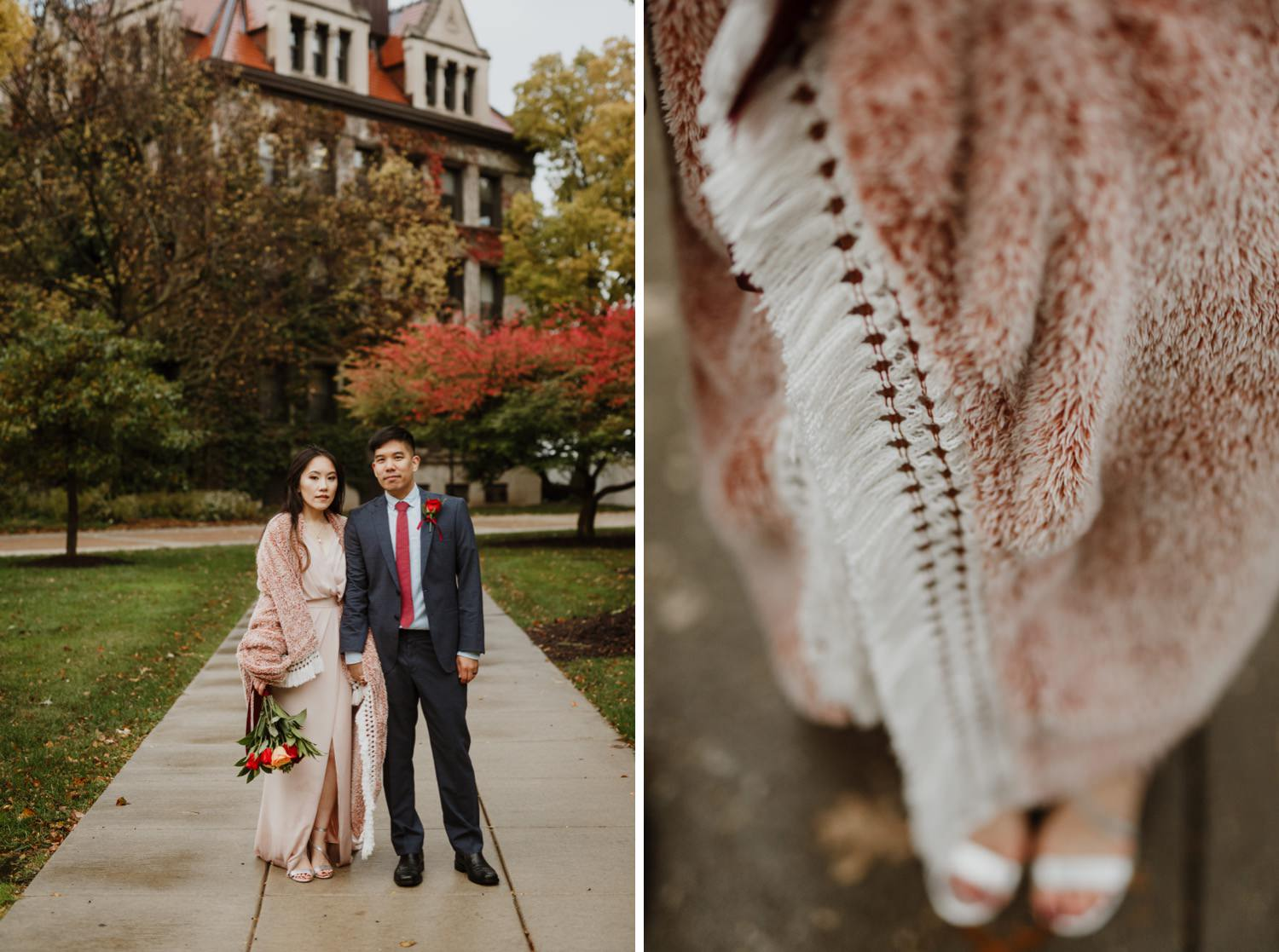 portrait of the bride and groom at University of Chicago after the wedding