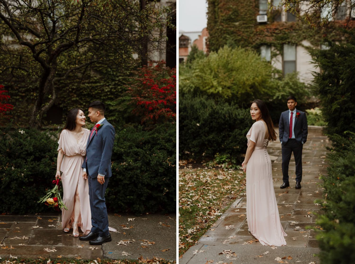 Bride and groom eloping at University of Chicago
