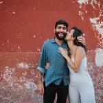 couple kissing on street in San Miguel de Allende